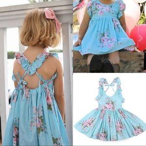 Dresses - NWT Girls Baby Blue Floral Summer Dress Set